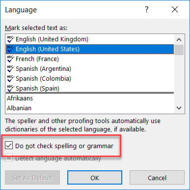 when spell check runs it skips over any text that has been styled using a style with this setting